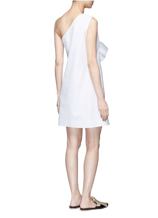 Back View - Click To Enlarge - VICTORIA, VICTORIA BECKHAM - Twist bow one-shoulder microfaille dress