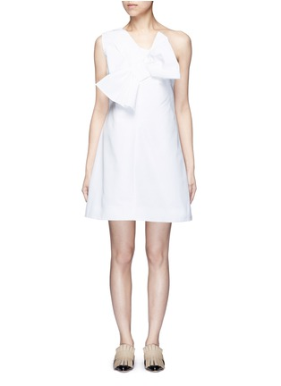 Main View - Click To Enlarge - VICTORIA, VICTORIA BECKHAM - Twist bow one-shoulder microfaille dress