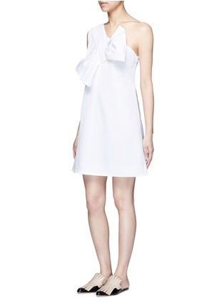 Figure View - Click To Enlarge - VICTORIA, VICTORIA BECKHAM - Twist bow one-shoulder microfaille dress