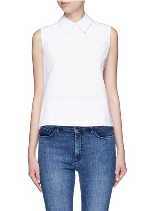 Main View - Click To Enlarge - VICTORIA, VICTORIA BECKHAM - Tie back poplin sleeveless shirt