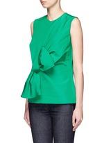 Twist bow faille sleeveless top