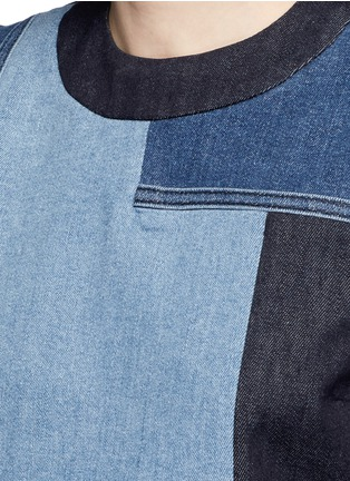 Detail View - Click To Enlarge - VICTORIA, VICTORIA BECKHAM - Patchwork denim sleeveless dress