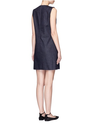 Back View - Click To Enlarge - VICTORIA, VICTORIA BECKHAM - Patchwork denim sleeveless dress