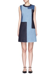 VICTORIA, VICTORIA BECKHAM Patchwork denim sleeveless dress