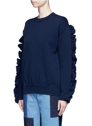 Front View - Click To Enlarge - VICTORIA, VICTORIA BECKHAM - Ruffle sleeve sweater