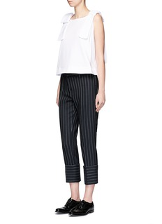VICTORIA, VICTORIA BECKHAMPinstripe wool blend cropped pants