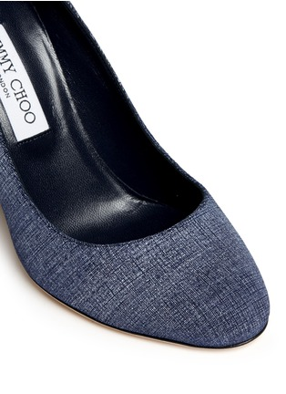 Detail View - Click To Enlarge - Jimmy Choo - 'Laria 100' wood heel denim pumps