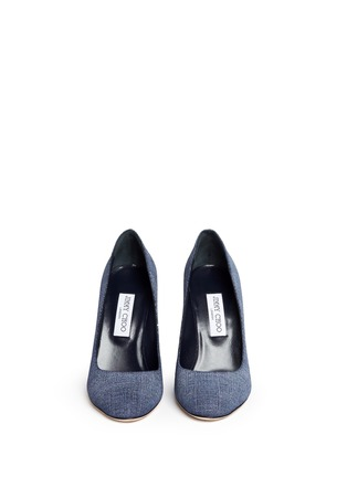 Front View - Click To Enlarge - Jimmy Choo - 'Laria 100' wood heel denim pumps