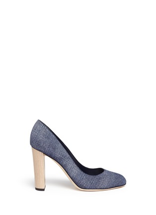 Main View - Click To Enlarge - Jimmy Choo - 'Laria 100' wood heel denim pumps
