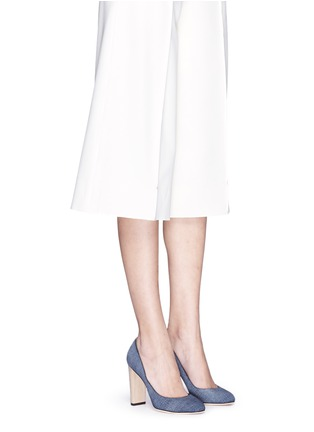 Figure View - Click To Enlarge - Jimmy Choo - 'Laria 100' wood heel denim pumps