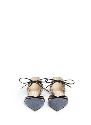Front View - Click To Enlarge - Jimmy Choo - 'Hime' leather trim canvas flats