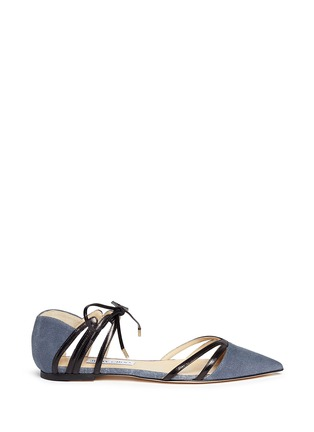 Main View - Click To Enlarge - Jimmy Choo - 'Hime' leather trim canvas flats