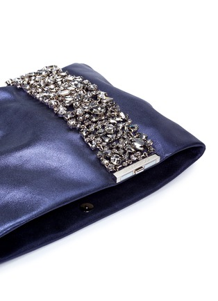 Detail View - Click To Enlarge - Jimmy Choo - 'Chandra' crystal bracelet metallic leather clutch