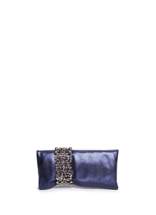Back View - Click To Enlarge - Jimmy Choo - 'Chandra' crystal bracelet metallic leather clutch