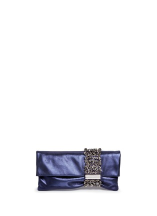 Main View - Click To Enlarge - Jimmy Choo - 'Chandra' crystal bracelet metallic leather clutch