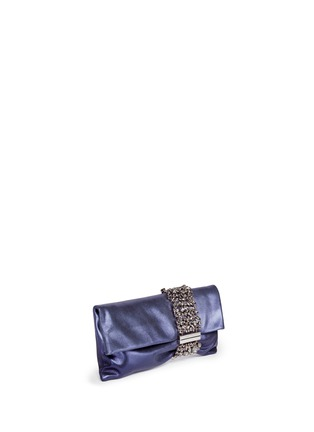 Figure View - Click To Enlarge - Jimmy Choo - 'Chandra' crystal bracelet metallic leather clutch