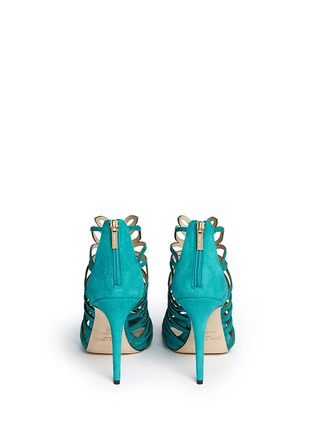 Back View - Click To Enlarge - Jimmy Choo - 'Kera' leaf cutout suede sandals