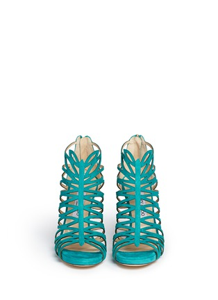 Front View - Click To Enlarge - Jimmy Choo - 'Kera' leaf cutout suede sandals