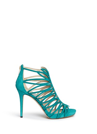 Main View - Click To Enlarge - Jimmy Choo - 'Kera' leaf cutout suede sandals