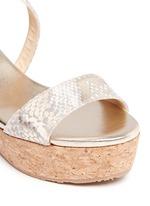 'Portia' snake print suede cork wedge platform sandals