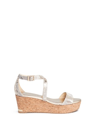 Main View - Click To Enlarge - Jimmy Choo - 'Portia' snake print suede cork wedge platform sandals