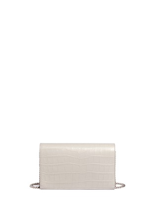 Back View - Click To Enlarge - Saint Laurent - 'Monogram' croc embossed leather chain wallet