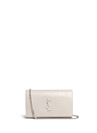 Main View - Click To Enlarge - SAINT LAURENT - 'Monogram' croc embossed leather chain wallet