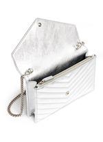 'Monogram' metallic matelassé leather chain wallet