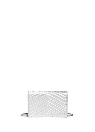 Back View - Click To Enlarge - SAINT LAURENT - 'Monogram' metallic matelassé leather chain wallet