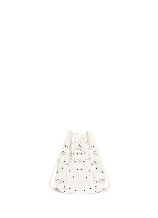 Back View - Click To Enlarge - Saint Laurent - 'Jen' small stud leather flat bucket bag