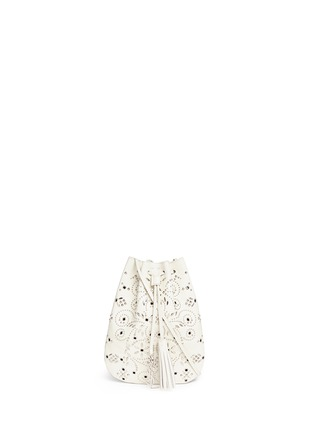 Main View - Click To Enlarge - Saint Laurent - 'Jen' small stud leather flat bucket bag