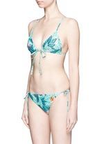 Crisscross back leaf print triangle bikini top