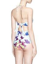 Cutout back rainbow one-piece bustier swimsuit