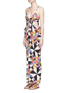 MARA HOFFMANOptical graphic lace-up back cutout maxi dress