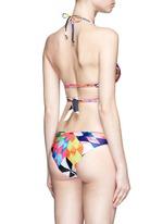 Optical graphic wraparound triangle halter bikini top