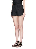 Ruffle paperbag waist linen-cotton mini shorts