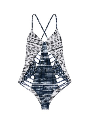 Main View - Click To Enlarge - Mara Hoffman - 'Peacock Stripe' print braided lattice swimsuit