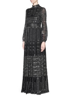 VALENTINOBatik bead embroidery mesh lace gown