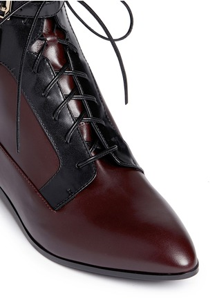 Detail View - Click To Enlarge - SERGIO ROSSI - 'Brandon' colourblock lace-up leather booties