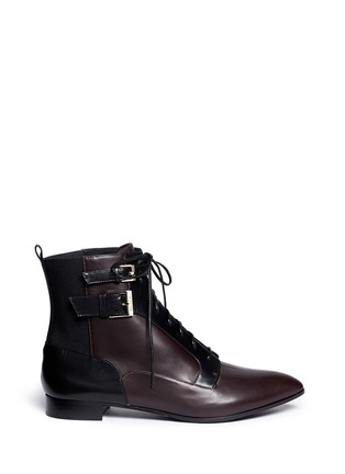 Main View - Click To Enlarge - SERGIO ROSSI - 'Brandon' colourblock lace-up leather booties