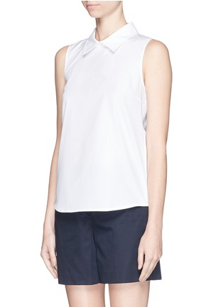 Front View - Click To Enlarge - Theory - 'Marbie' sleeveless cotton poplin top
