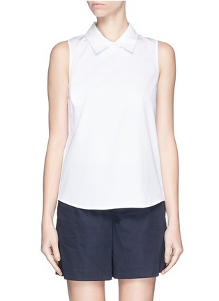 Main View - Click To Enlarge - Theory - 'Marbie' sleeveless cotton poplin top