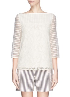 TORY BURCH'Lindsey' lace stripe tulle blouse