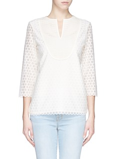 TORY BURCH'Tali' hexagonal Florentine embroidered blouse