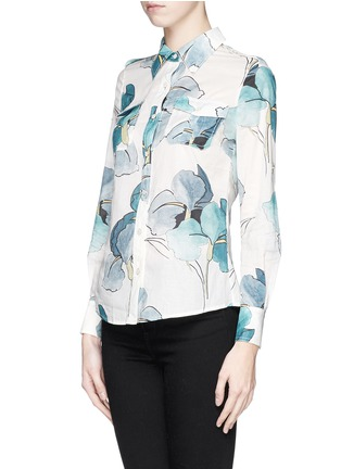 Front View - Click To Enlarge - Tory Burch - 'Brigitte' watercolour print cotton blouse
