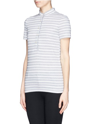 Front View - Click To Enlarge - Tory Burch - 'Lidia' braided stripe polo T-shirt