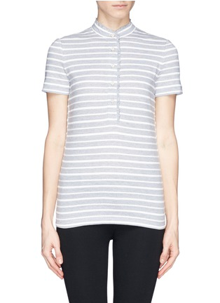 Main View - Click To Enlarge - Tory Burch - 'Lidia' braided stripe polo T-shirt