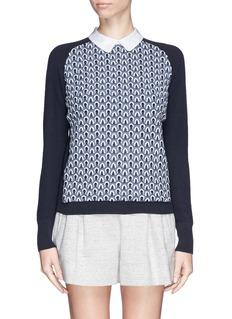 TORY BURCH'Carmine' crochet knit sweater