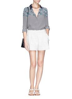 TORY BURCH'Pamela' nautical stripe flower print silk shirt