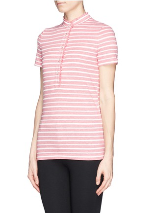 Front View - Click To Enlarge - Tory Burch - 'Lidia' ruffle trim stripe polo shirt